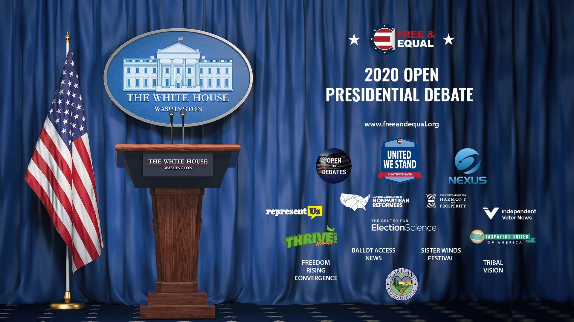 Free and Equal Elections' Open Presidential Debate Design + Sponsors v2 1920x1080px